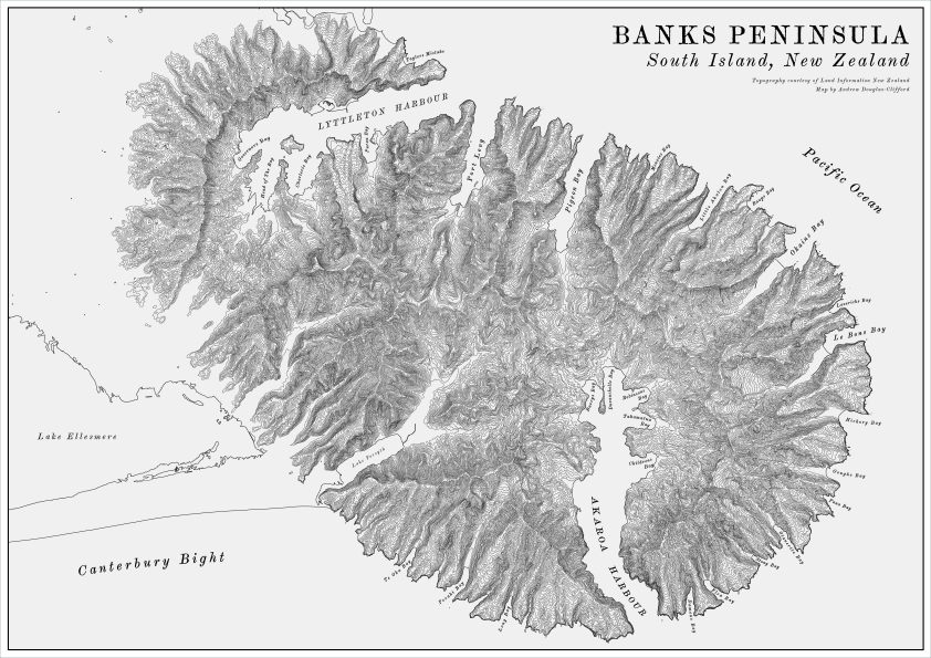 Banks Peninsula Vintage Terrain Map v2-01