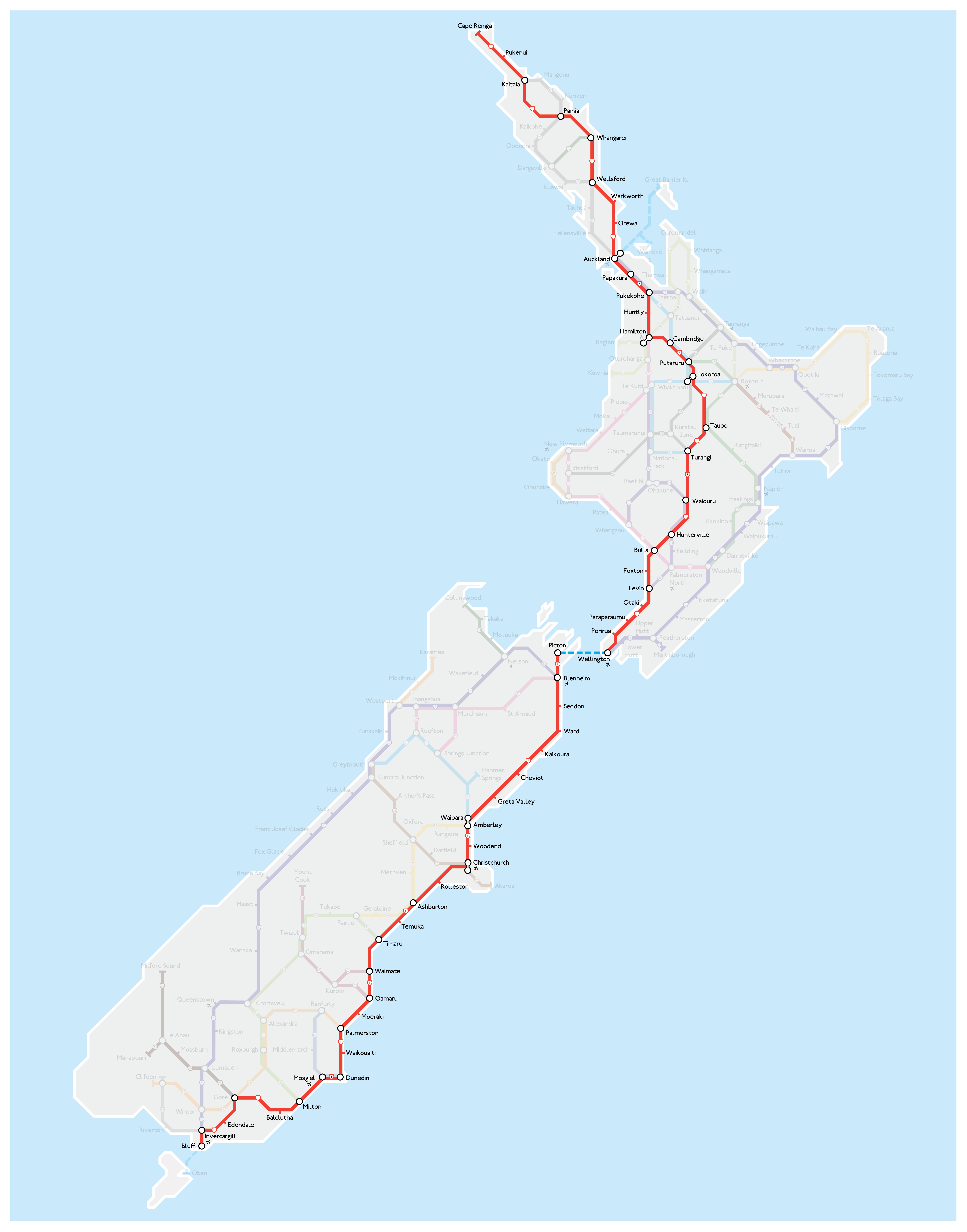 New Zealand Road Map.The Great New Zealand Road Trip